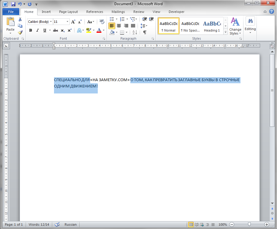 На заметку - как изменить заглавные буквы на строчные в MS Word